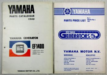 Yamaha EF 1400 Generator Parts Catalogue 1980 + parts price list 1981