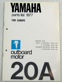 Yamaha 20A Außenbordmotor Parts List Ersatzteilliste 1977