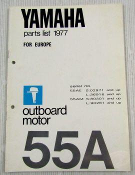 Yamaha 55A Außenbordmotor Parts List Ersatzteilliste 77