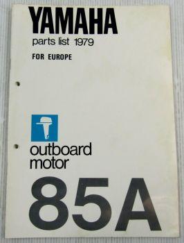 Yamaha 85A Außenbordmotor Parts List Ersatzteilliste 1979