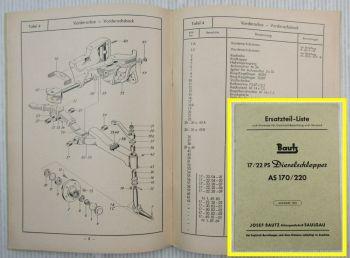 Bautz AS170 AS220 Dieselschlepper original Ersatzteilliste 1955
