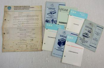 Lucas Service-Karten + Wartungs- Prüfanleitungen + Testvorschrift ca. 1960er