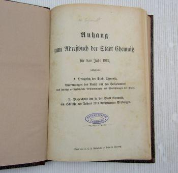 Anhang zum Adressbuch der Stadt Chemnitz 1912 Ausgabe ca 1970/80 neu gebunden