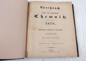 Adreßbuch der Fabrik- und Handelsstadt Chemnitz 1878 ca 1970/80 neu gebunden