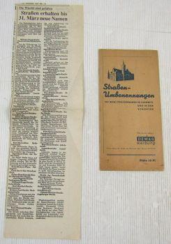 Straßen Umbenennungen in Chemnitz und Umgebung ca. 1955/1991