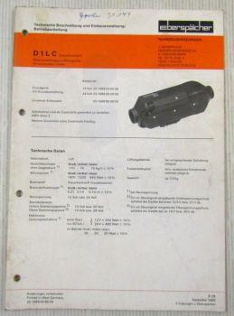 Eberspächer D1LC Einbau Betriebsanleitung Technische Beschreibung 1988