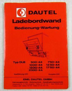Dautel DLB 500 - 2000-44 Ladebordwand Bedienung Betriebsanleitung Wartung 1991