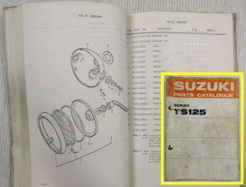 Suzuki TS125 R J K L M A Motorcycles E1 Spare Parts Catalogue List 1975