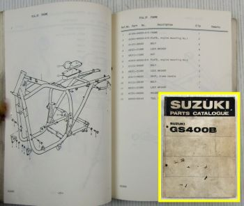 Suzuki GS400B Motorcycles E1 Spare Parts Catalogue List 1976