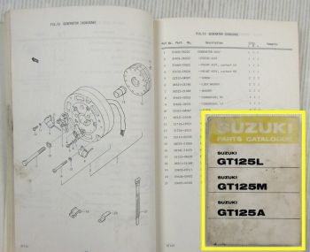 Suzuki GT125 L M A Motorcycles E1 Spare Parts Catalogue List 1975