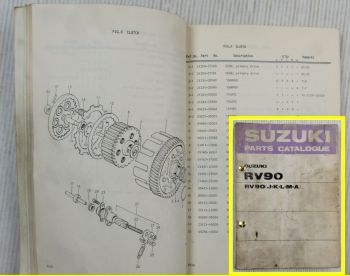 Suzuki RV90 J K L M A B Motorcycles E1 Spare Parts Catalogue List 1975