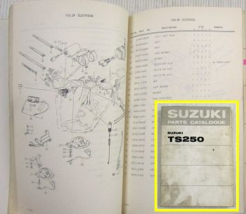 Suzuki TS250 R J K L M Motorcycles E1 Spare Parts Catalogue List  + addition