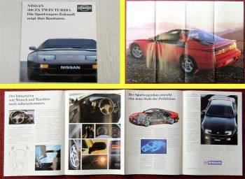 Prospekt Poster Nissan 300ZX Twin Turbo Sportwagen technischer Stand 1991