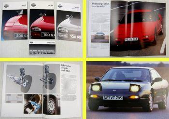 2 Prospekte Broschüren Nissan 100NX 200SX Sportwagen + Preisliste 1991