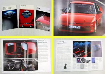 3 Prospekte Broschüren Nissan 100NX 200SX Sportwagen + Technik 1989/90