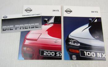 2 Prospekte Broschüren Nissan 100NX 200SX Sportwagen 90/91 + Preisliste 1991