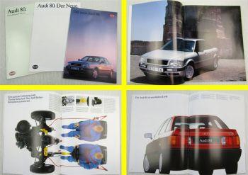 3 Prospekte VAG Audi 80 von 1986 1988 und 1991 mit Technischen Daten