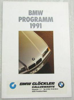 Prospekt BMW Programm 1991 3er 5er 7er Reihe 750 I IL 850i M Modelle Z1 K1