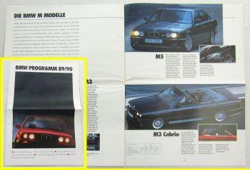 Prospekt BMW Programm 89/90 - Modelle Z1 M3 M5 850i 7er 5er und 3er Reihe