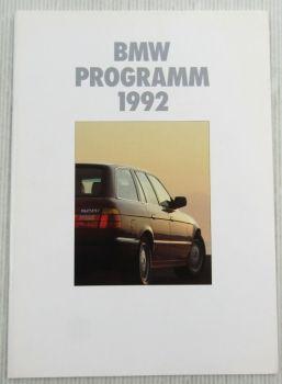 Prospekt Das BMW Programm 1992 - M5 K1 850i 750i iL 3er 5er und 7er Reihe