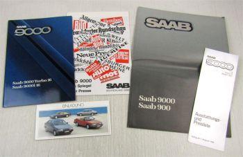 3 Prospekte Saab 900 9000 Turbo 16  i16 + Preisliste + Einladungskarte von 1986