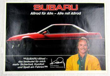 Prospekt Subaru mit Keke Rosberg Formel 1 Weltmeister aus den 80er Jahren