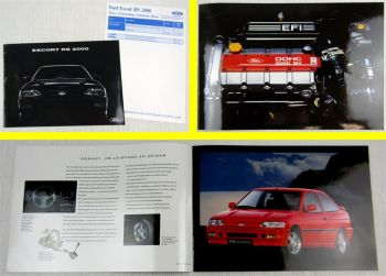 Prospekt Ford Escort RS2000 16V + Preise Lieferumfang Technische Daten ca 1991