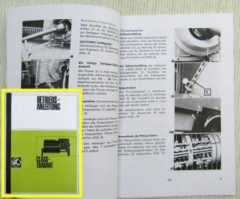 Claas Trabant Hochdruckpresse Betriebsanleitung und Schmierplan