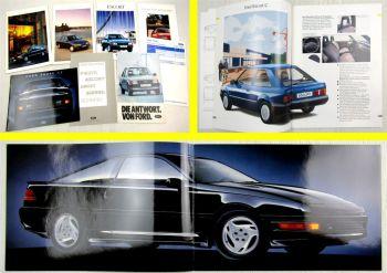 6 Prospekte + Preislisten Ford Probe Sierra Scorpio Escort aus den 80er Jahren