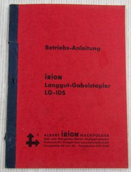 Irion LG-IDS Langgut-Gabelstapler Betriebsanleitung Bedienungsanleitung 60/70er