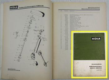Köla EAS31 EAS31S Selbstladewagen Ersatzteilliste Ersatzteilkatalog 1967