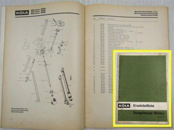 Köla Mistex 200 300 400 Dungstreuer Ersatzteilliste Ersatzteilkatalog 1969