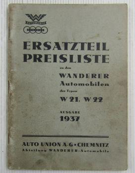 original Wanderer Automobile W21 W22 Ersatzteil- Preisliste von 1937