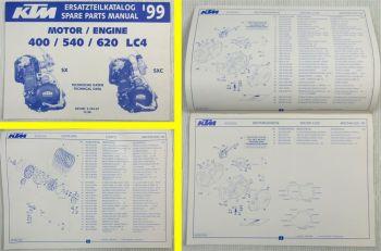 KTM 400SXC 500SXC 620SX LC4 Ersatzteilliste Motor Parts list Engine MJ 1999