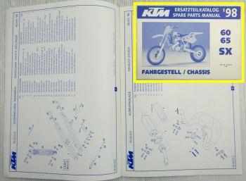 KTM 60 65 SX Ersatzteilliste Ersatzteilkatalog Parts List Fahrgestell Chassis 98