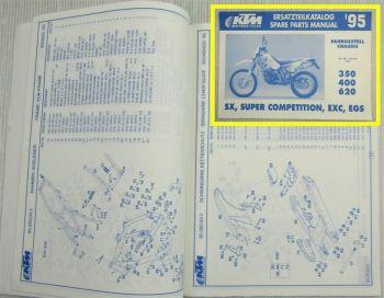 KTM 350 400 620  SX Super Competition EXC EGS Ersatzteilkatalog Parts List 1995