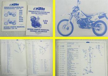 KTM 350 400 620 SX EXC EGS RXC Motor Chassis LC4 Ersatzteilliste MJ 94