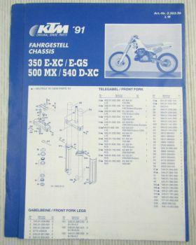 KTM 350 E-XC E-GS 500MX 540D-XC Fahrgestell Ersatzteilliste Parts List Faltblatt