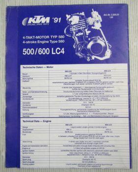 Ersatzteilliste KTM 500 600 LC4 MX D-XC E-XC E-GS Typ 580 Parts List Faltblatt