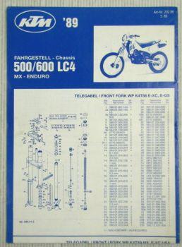 KTM 500 600 LC4 MX Enduro Ersatzteilliste Spare Parts List Faltblatt 1989