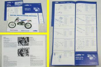 KTM 250 300 Motocross Enduro Bedienungsanleitung + Ersatzteilliste Motor Chassis