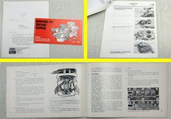 Ford V4 V6 Industriemotoren Bedienungs- u Wartungsanleitung 1970 + Nachtrag 1972