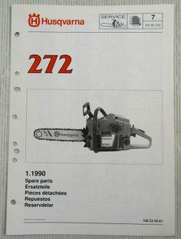 Husqvarna 272 Kettensäge Motorsäge Ersatzteilliste Bild-Katalog Parts List 1/91