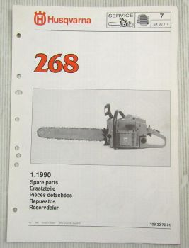 Husqvarna 268 Kettensäge Motorsäge Ersatzteilliste Bild-Katalog Parts List 1/90
