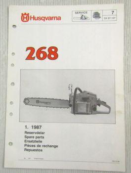 Husqvarna 268 Kettensäge Motorsäge Ersatzteilliste Bild-Katalog Parts List 1/87