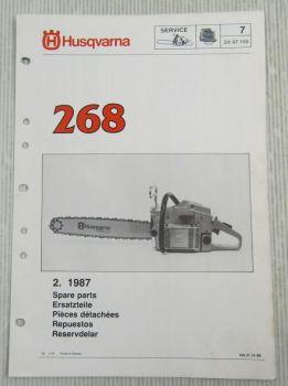 Husqvarna 268 Kettensäge Motorsäge Ersatzteilliste Bild-Katalog Parts List 2/87