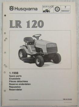 Husqvarna LR120 Lawn Tractor Mower Spare Parts List Catalog 01/1998