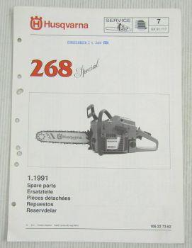 Husqvarna 268 Special Kettensäge Motorsäge Ersatzteilbild-Katalog Parts List 91