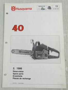 Husqvarna 40 Kettensäge Motorsäge Ersatzteilbild-Katalog Parts List 2/1986