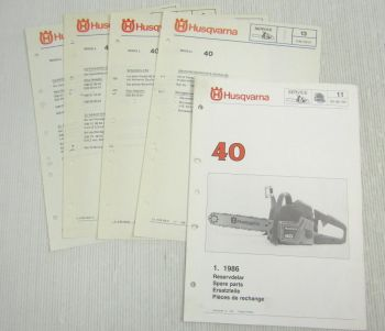 Husqvarna 40 Kettensäge Motorsäge Ersatzteilbild-Katalog Parts List 1/1986